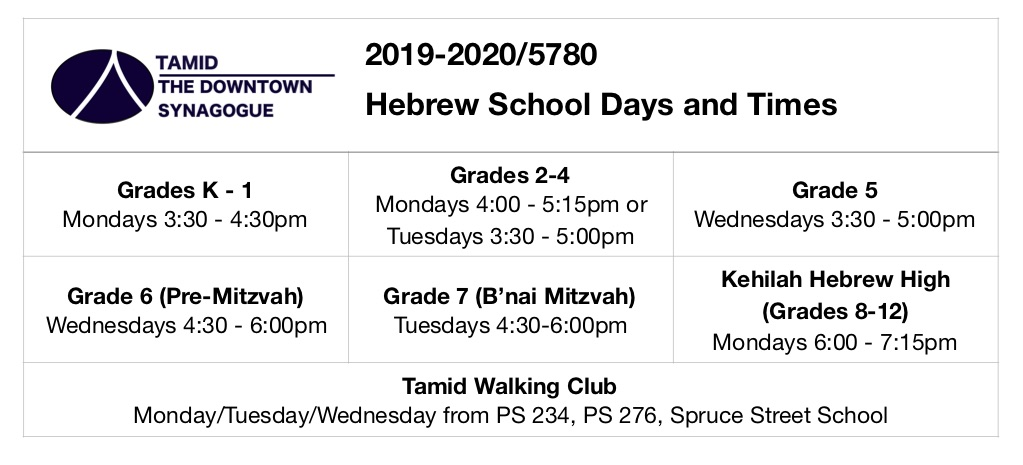 Nyc School Calendar 2020.2019 20 Schedule Tamid Nyc